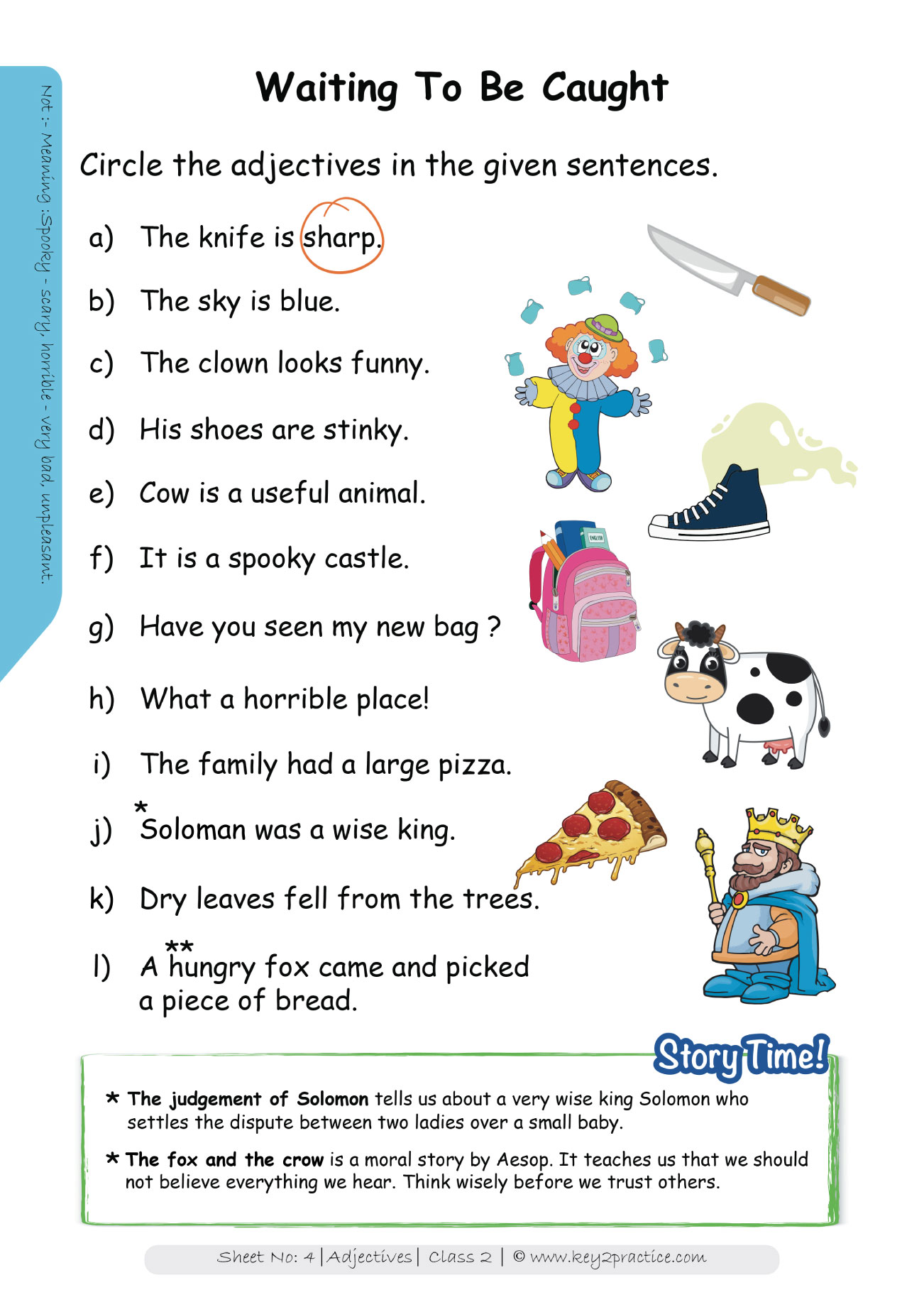 Worksheets On Adjectives Grade 2 I English