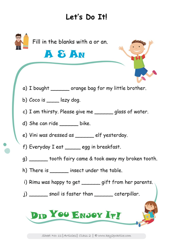 medium resolution of English Grammar Worksheets I Grade 2 Articles - key2practice Workbooks