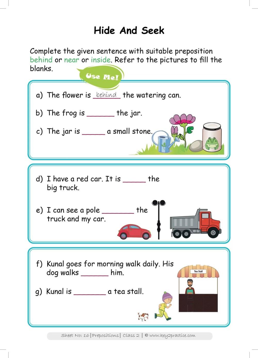 medium resolution of Grade 2 English worksheets Prepositions - key2practice Workbooks