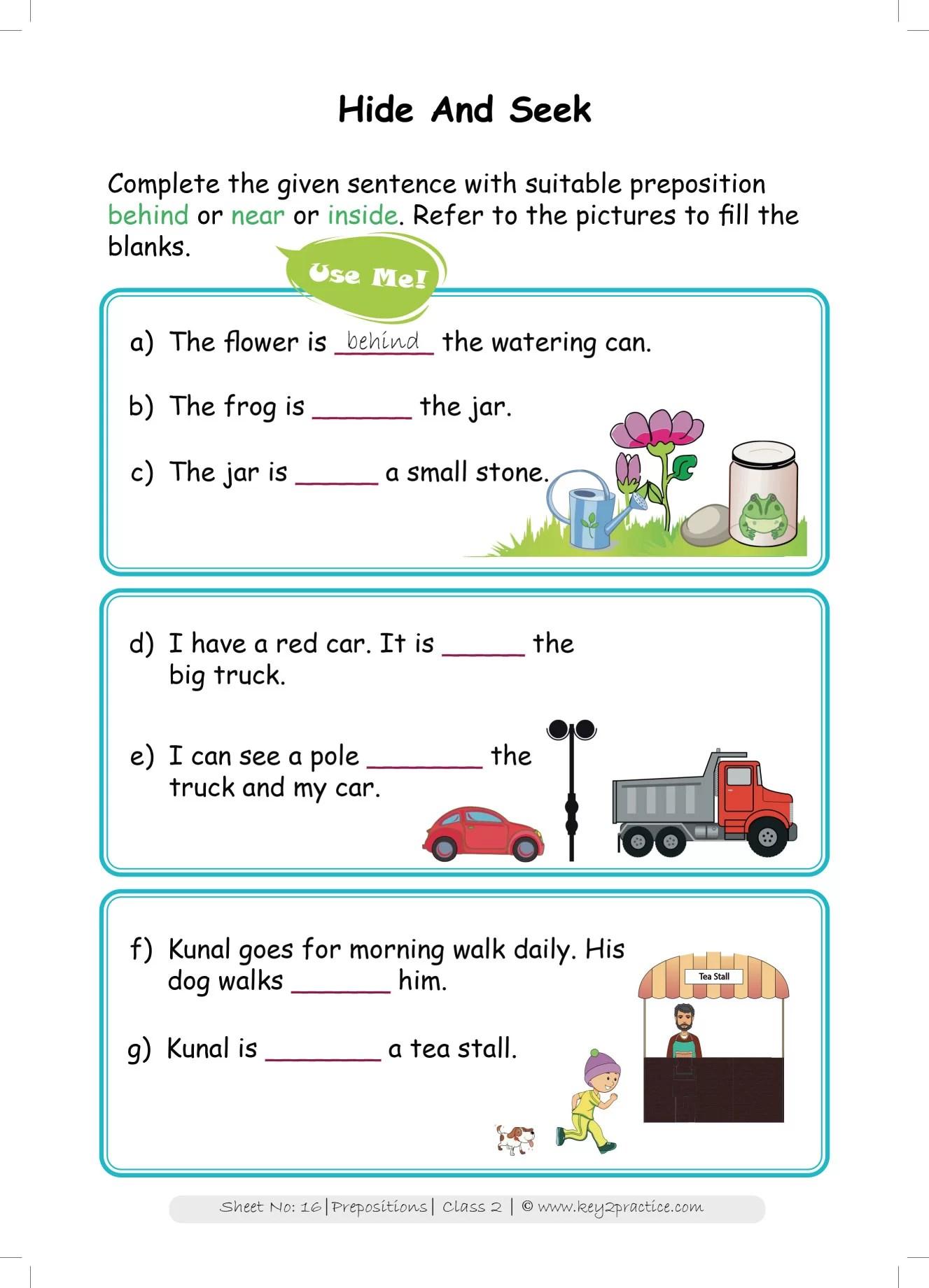 hight resolution of Grade 2 English worksheets Prepositions - key2practice Workbooks
