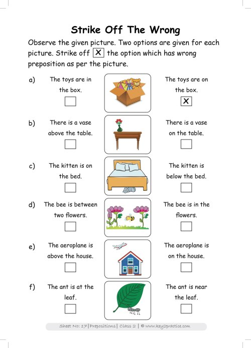 small resolution of Grade 2 English worksheets Prepositions - key2practice Workbooks