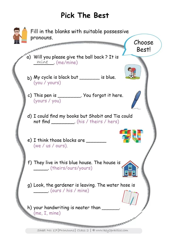 medium resolution of Pronouns worksheets Grade 2 I English - key2practice Workbooks