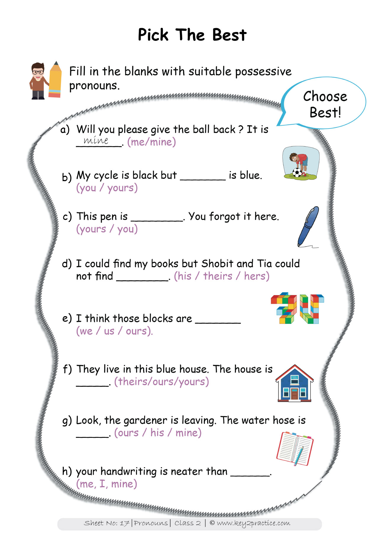 hight resolution of Pronouns worksheets Grade 2 I English - key2practice Workbooks