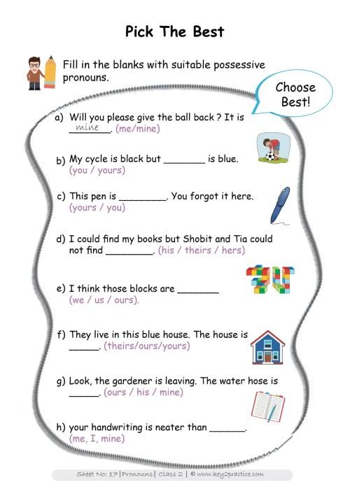 small resolution of Pronouns worksheets Grade 2 I English - key2practice Workbooks