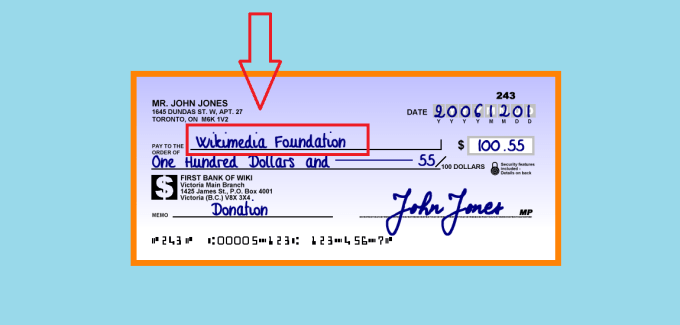 How to fill out a check name