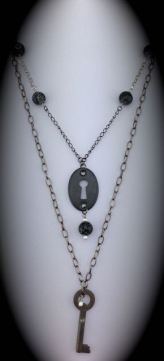 Antique Skeleton Key Necklace w/ matching Escutheon $50