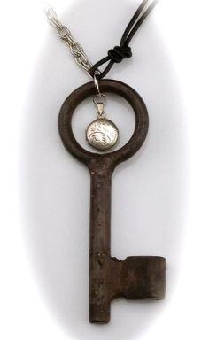 Hand Forged Skeleton Key Necklace w/ Vintage Sterling Etched Locket $75
