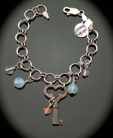 Heart Skeleton Key on Vintage Sterling Bracelet $55