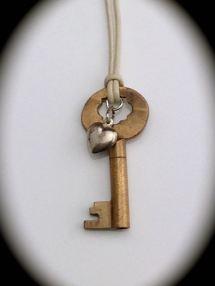 Small Brass Skeleton Key Necklace w/ Vintage Sterling Heart $37