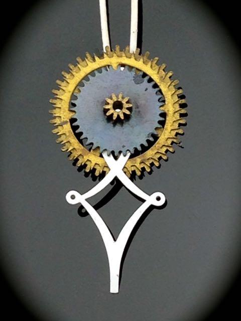 Steampunk Necklace w/ Antique Clock Gears & Watch Hand $30
