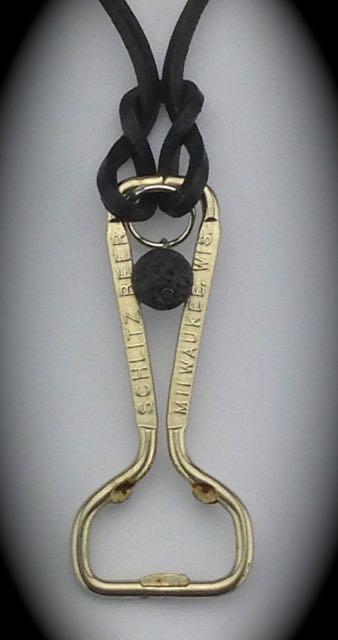 Vintage Schiltz Beer Opener Necklace - ready to use w/ quick release clasp $23 (SW822)