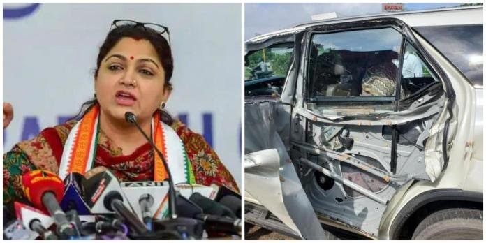 BJP leader Khushbu Sundar met with an accident