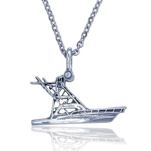 Yacht Sport Boat Necklace Sterling Silver on Stainless