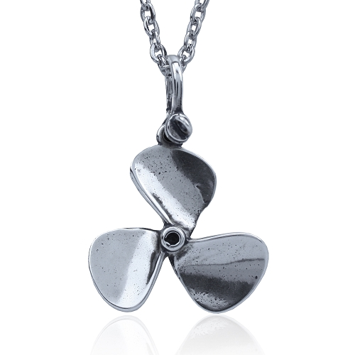 Sterling Silver Boat Propeller Necklace with Stainless