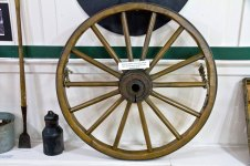 Key Peninsula Historical Society & Museum Cackleberries Humbleberries & Hooch Exhibit, Wagon wheel
