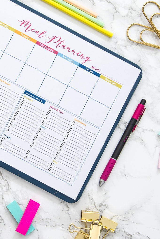 free printable planner pages to organize meal planning