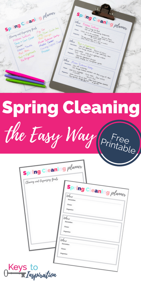 Download this free printable planner and learn how to do spring cleaning the easy way! Stop the overwhelm with this simple plan.