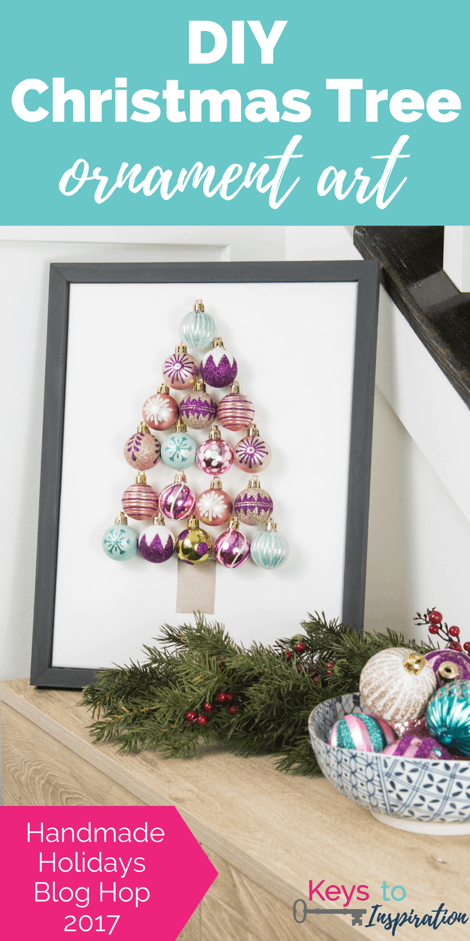 DIY Christmas Tree Ornament Art. Create a bright and modern art piece using Christmas ornaments. See other DIY home decor ideas in the Handmade Holidays Blog Hop!