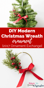 DIY Modern Christmas Wreath Ornament {2017 Ornament Exchange}