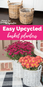 Easy Upcycled Basket Planters