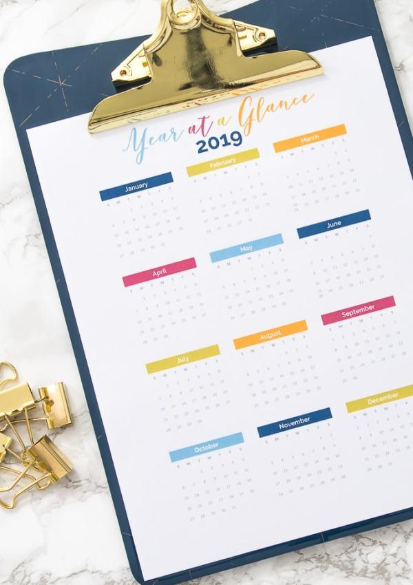 Free Printable Year at a Glance Calendar