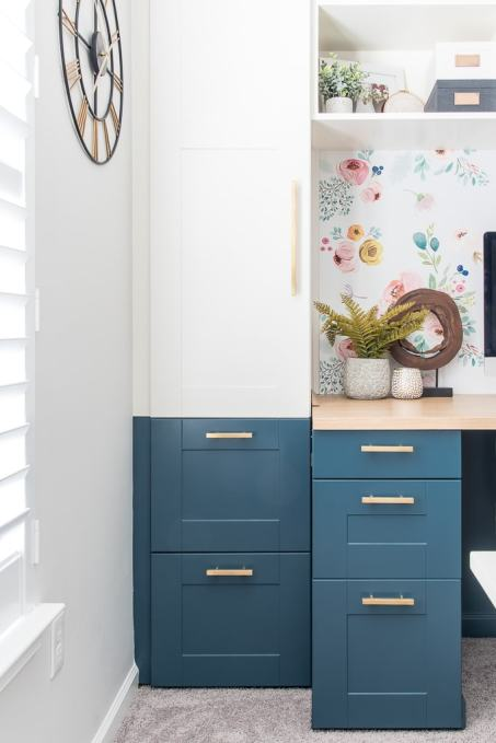 IKEA SEKTION cabinet built-in desk navy and white office