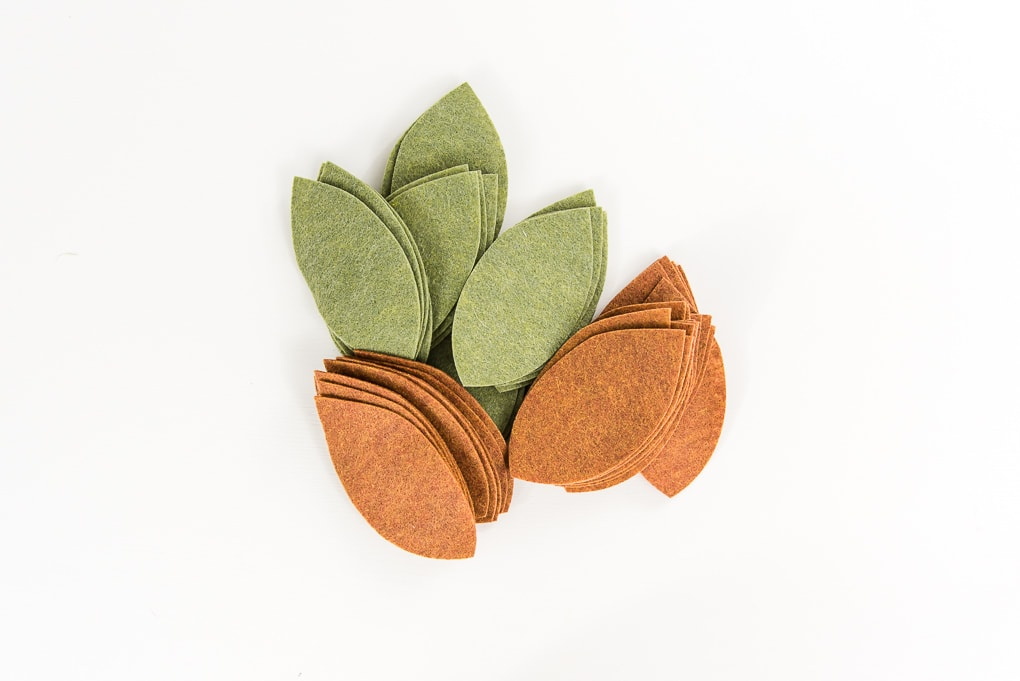 pile of felt leaves green and tan