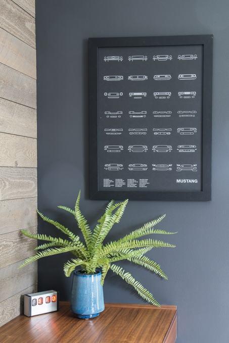 mustang art print in modern masculine home office