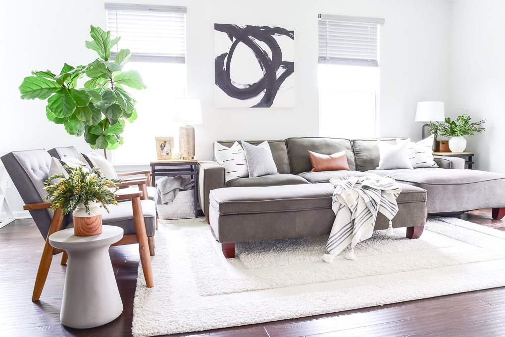 modern living room with woven nook pillows