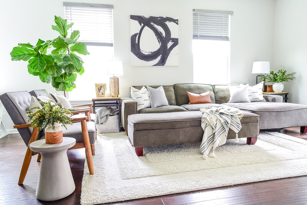 large fiddle leaf fig tree in living room home decor