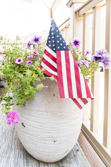 modern outdoor planter gray with flowers and American flag