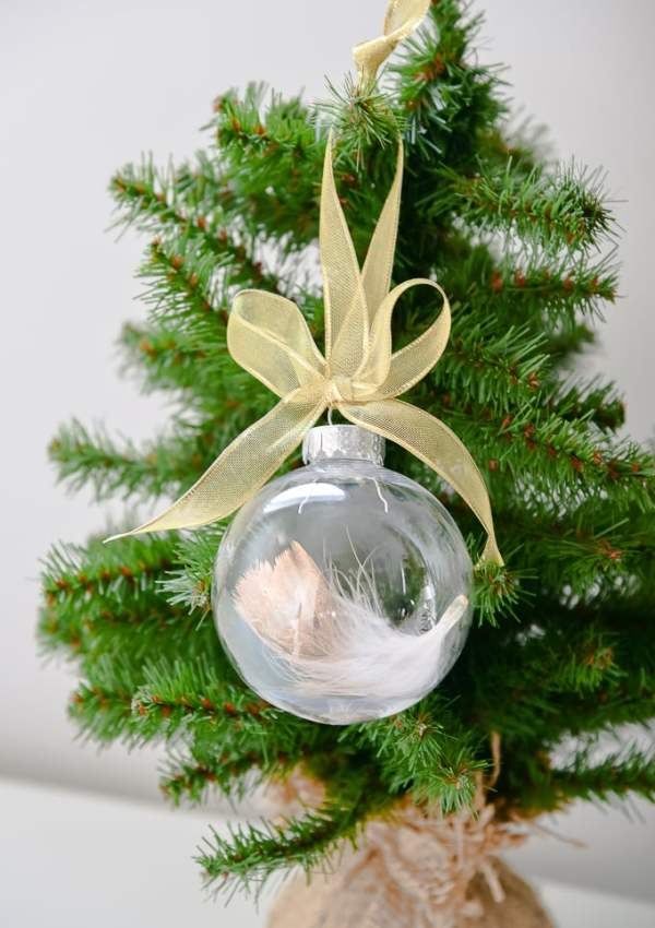 Easy Gold-Dipped Feather Ornament