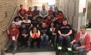 Students dressed in Red Sox's shirts for opening day.