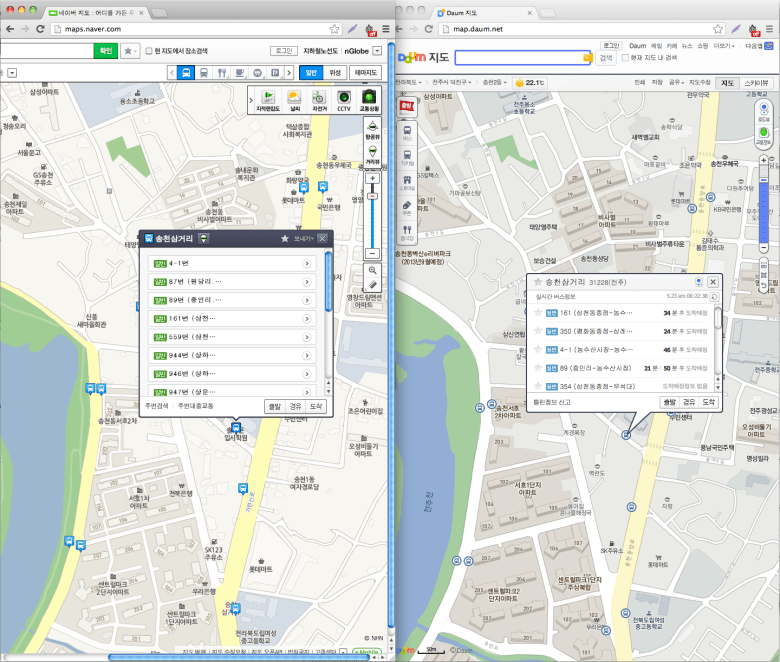 Naver and Daum Maps popup boxes