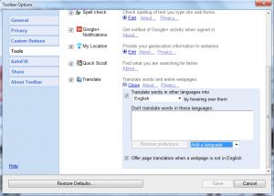 Toolbar translate options