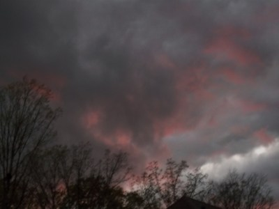 Blood-red clouds