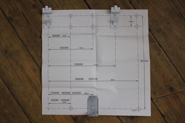 Template for fixing brackets on ecostrad ceramic iq electric radiator