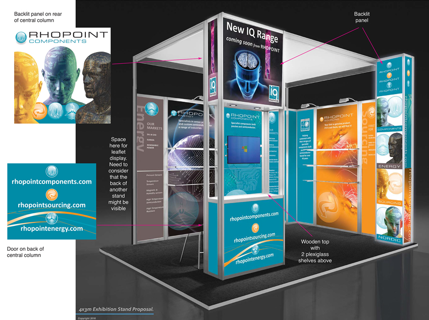 D Exhibition Design : Rhopoint components show stand visuals kf d creative design