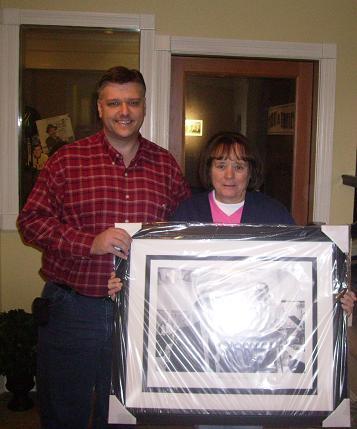 Chad the winner of the Sinatra framed print Paulette Wright of Edgemont