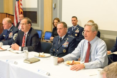 (Pictured: Chief Master Sergeant of the Air Force James Cody, U.S. Senator John Boozman (R-AR), Chief of Staff of the Air Force General David Goldfein and U.S. Senator John Hoeven at the Senate Air Force Caucus breakfast)