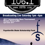 Join Timeless 106.1 KFFB at the 2017 Fayetteville Shale Scholarship Bass Tournament on Greers Ferry Lake April 22nd