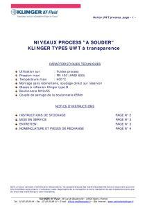 thumbnail of KLINGER INDICATEURS DE NIVEAU-insttruction de montage-application process 28