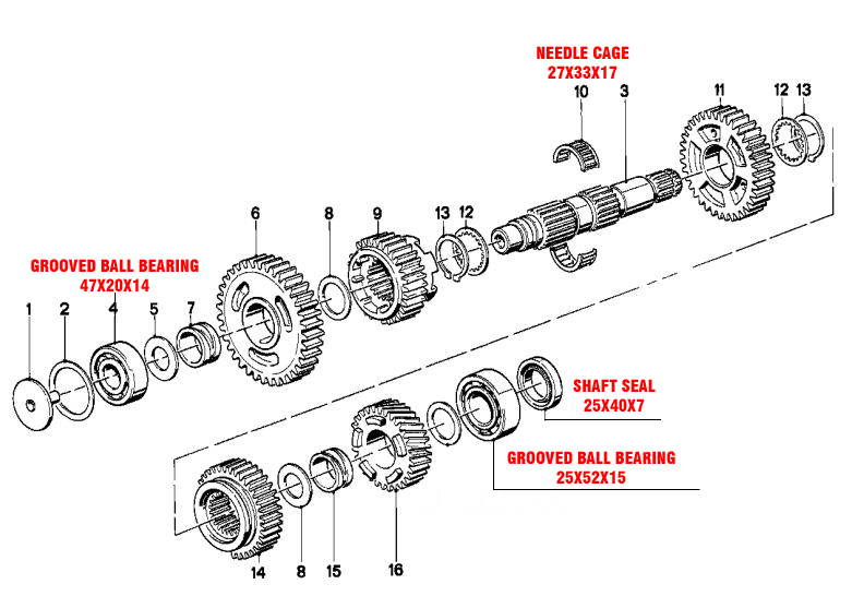 minimum parts needed to recondition a gear box