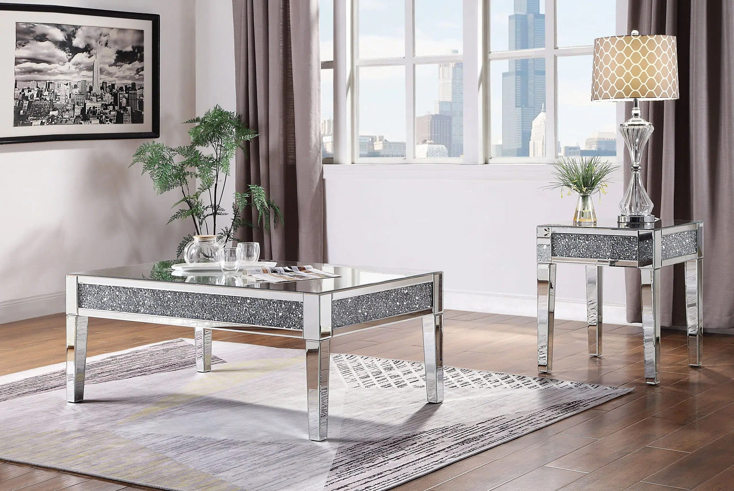 nysa mirrored tables with crystal top