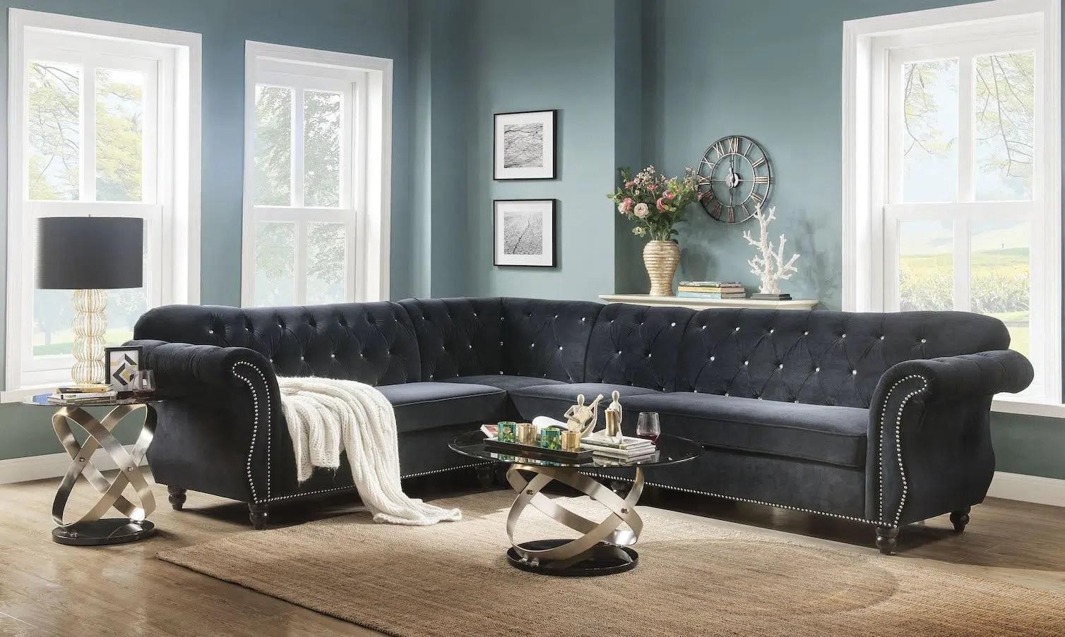 regan black velvet sectional sofa
