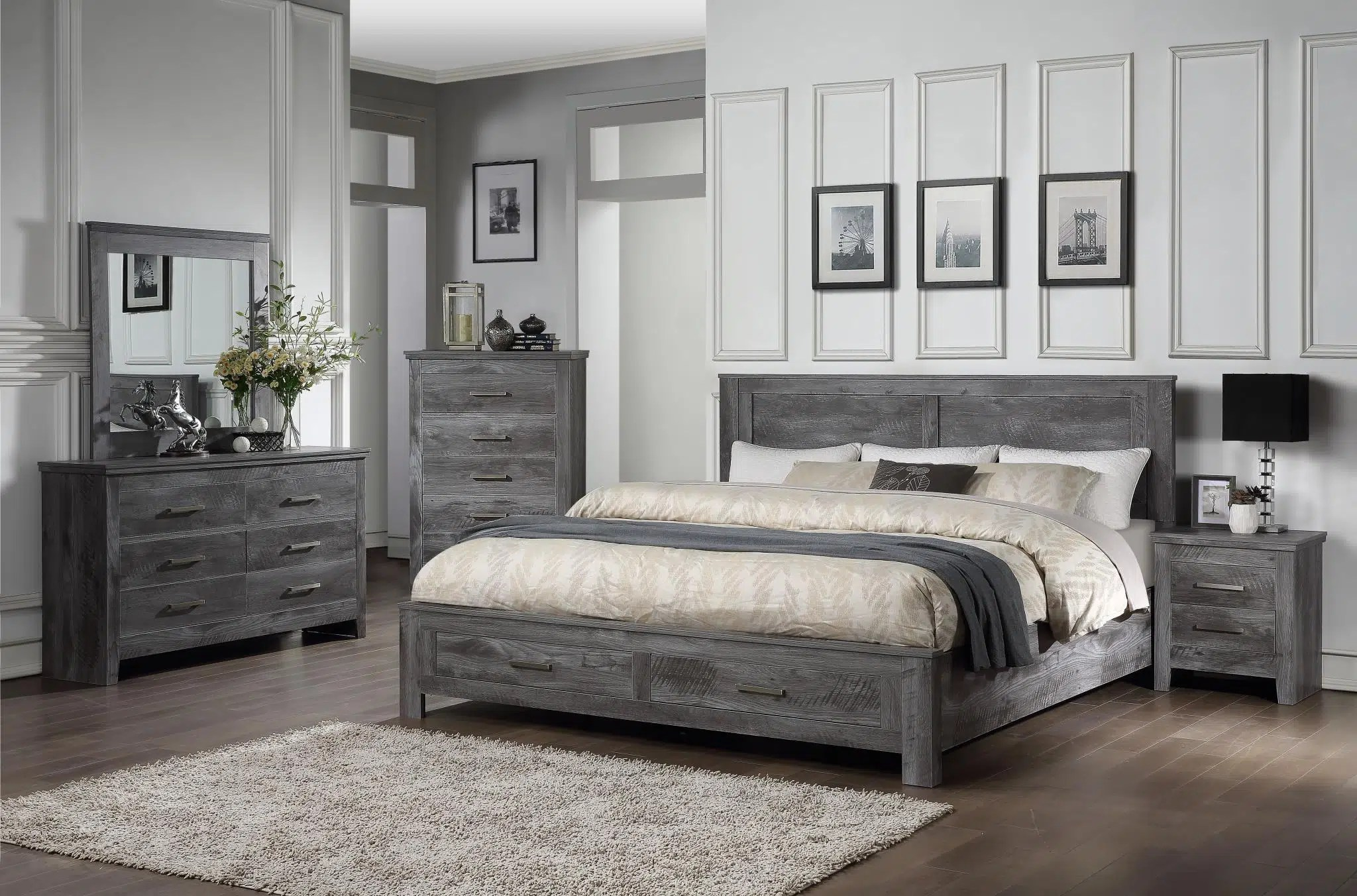 vidalia storage rustic gray oak bedroom set