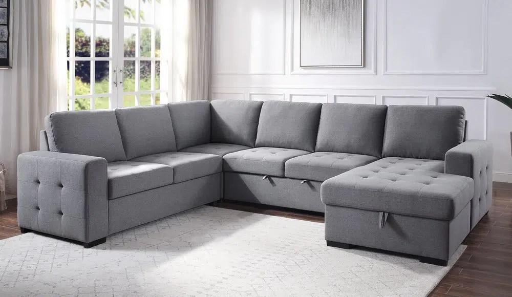 nardo gray tufted sectional sofa