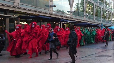 Extinction Rebellion protesters at the Southbank