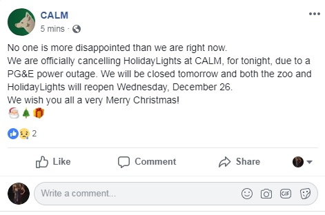 CALM HolidayLights closed due to power outage