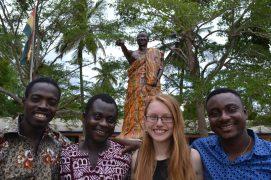statue painting crew: Odartey, David, Isabel, Emmanuel
